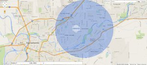 gift wrap delivery map area for Sacramento, CA