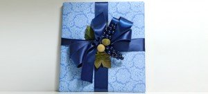Blue elegant custom gift wrap service and paper by Pretty Present