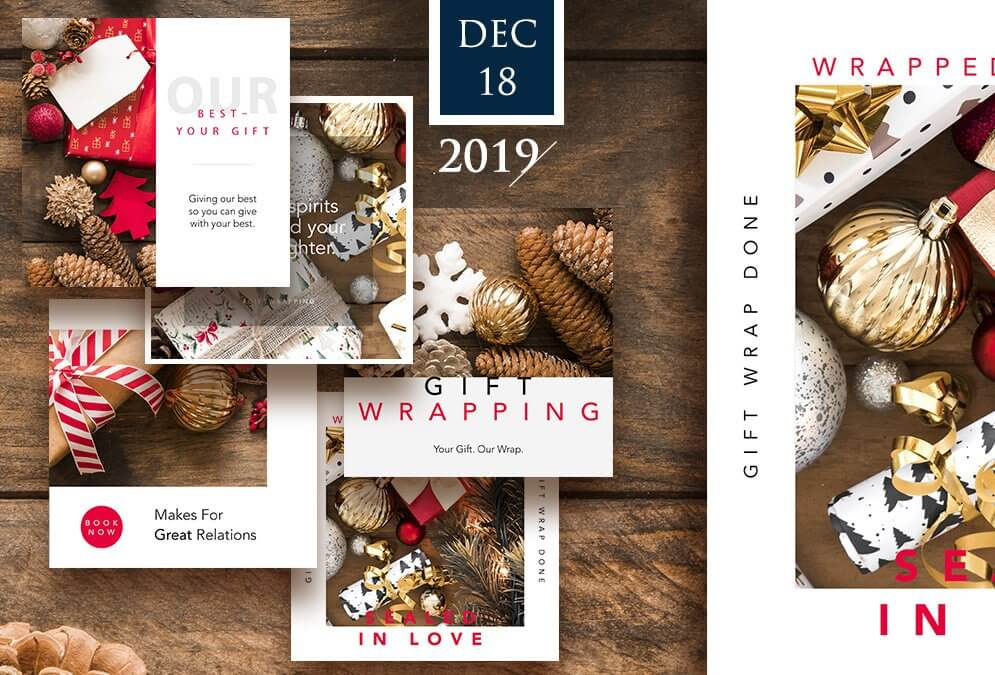 5 Christmas Social Media Graphics for Gift Wrap Businesses