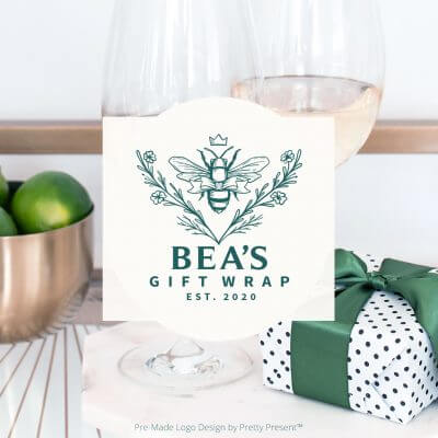 pre-made logo design for gift wrapping professionals by Pretty Present