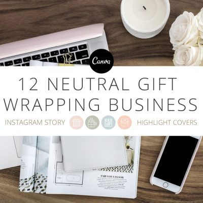 12 Neutral gift wrapping themed instagram highlight story covers by Pretty Present